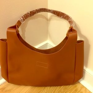 Brown Neiman Marcus Beauty Tote